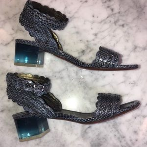 New Lanvin snake skin leather sandals  block heel